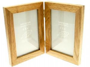 Natural Oak Wooden 2 Picture Double Photo Frame